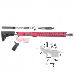 "AR15 16"" RIFLE BUILD KIT W/15"" KEYMOD RED HANDGUARD LPK MAGPUL GRIP & STOCK (ASSEMBLED UPPER)"