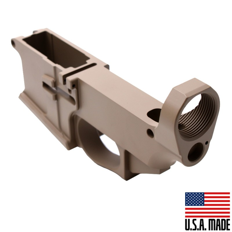 AR-15 Billet 80% Lower Receiver Cerakoted - FDE (Made in USA)
