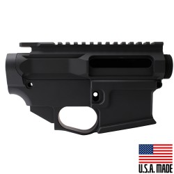AR-15 BILLET UPPER RECEIVER W/ 80% BILLET LOWER RECEIVER ANODIZED - BLACK (Made in USA)