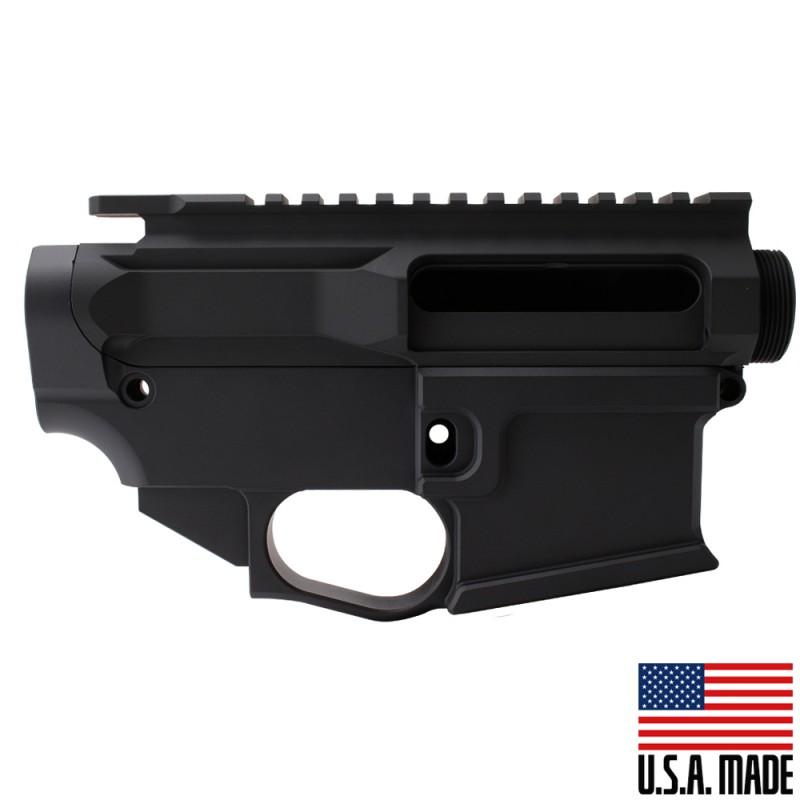AR-15 BILLET UPPER RECEIVER W/ 80% BILLET LOWER RECEIVER CERAKOTE - BLACK (Made in USA)