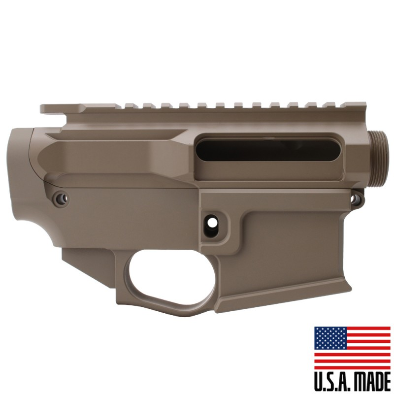 AR-15 BILLET UPPER RECEIVER W/ 80% BILLET LOWER RECEIVER CERAKOTE - FDE (Made in the USA)