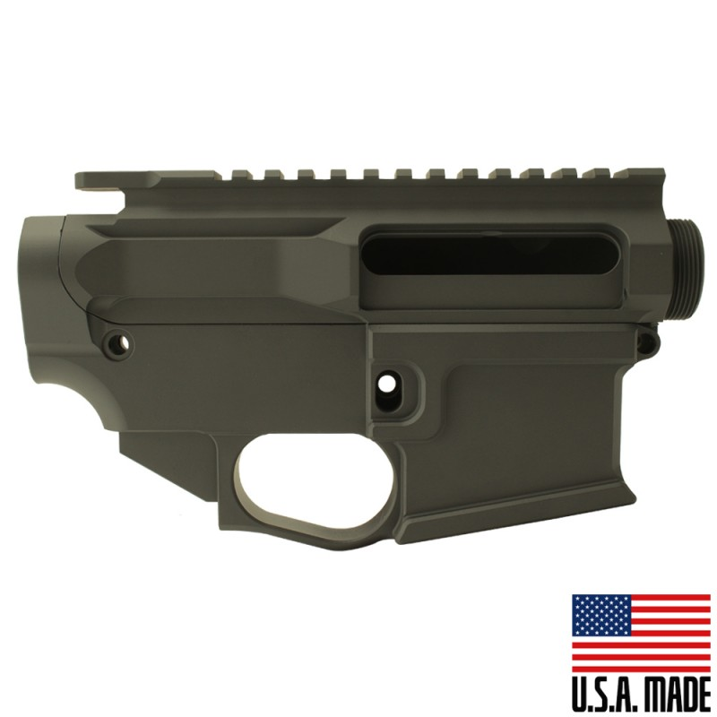 AR-15 BILLET UPPER RECEIVER W/ 80% BILLET LOWER RECEIVER CERAKOTE - OD GREEN (Made in USA)