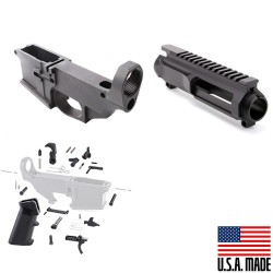 AR-15 80% Anodized BILLET Lower Combo with Stripped BILLET Upper Receiver (USA) and LPK