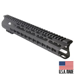 "AR-15 12"" Custom Made In USA Super Slim Light Keymod Free Float Handguard C-Cut -BLACK- (MADE IN USA)"