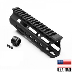 "AR-15 7"" Super Slim Light Keymod Free Float Handguard - Black C Cut (MADE IN USA)"