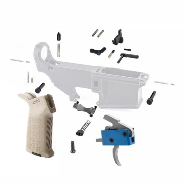 Lower Parts Kit with FDE Magpul Grip and USA Made Drop In Trigger