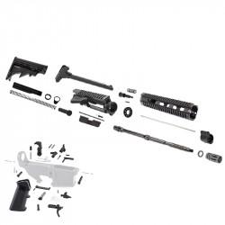 "AR15 16"" RIFLE BUILD KIT W/ 10"" QUAD RAIL HANDGUARD LPK & STOCK KIT (NO BCG) (ASSEMBLED UPPER)"