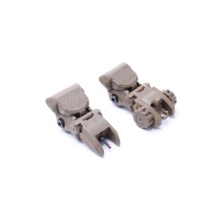 Tactical Polymer Flip up Front and Rear Sight-Tan