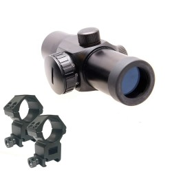 1x30 Red Dot Scope Sight with 30mm or 1 inch Red Dot Ring Mount - Short