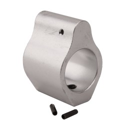 .750 Low Profile Aluminum Gas Block with Roll Pins & Wrench - Silver