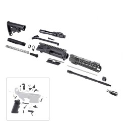 "AR15 16"" RIFLE BUILD KIT W/ 10"" HYBRID KEYMOD HANDGUARD BCG LPK & STOCK KIT"