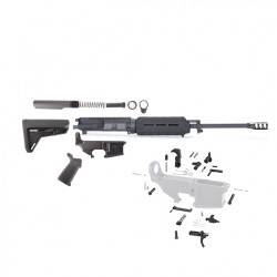 "AR15 16"" RIFLE BUILD KIT W/MAGPUL FURNITURE (BLK) 80% LOWER LPK (NO BCG) (ASSEMBLED UPPER)"