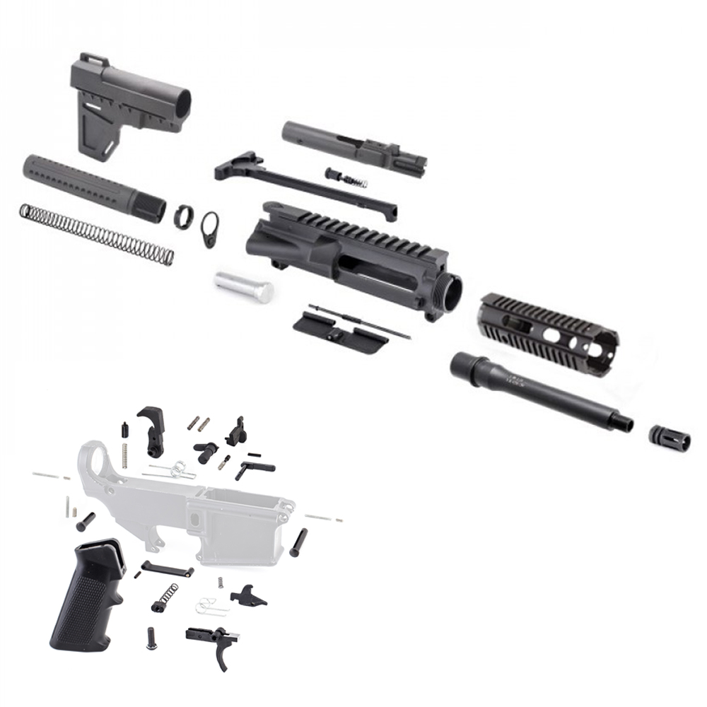 AR,9MM,Pistol,Kit,with,7,Barrel,and,7,Quad,Rail,with,LPK