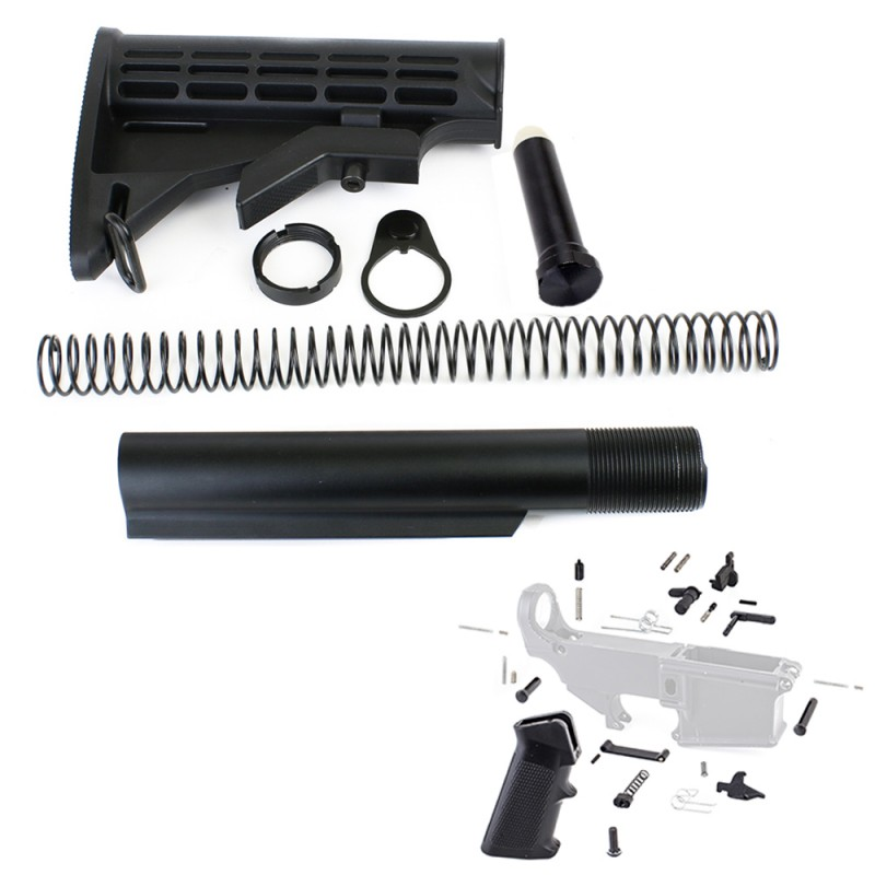 AR-15 6 Position Stock Kit -Mil Spec w/ Lower Parts Kit Exclude Trigger and Hammer