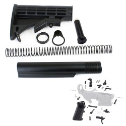 AR-15 6 Position Stock Kit -Mil Spec w/ Lower Parts Kit - Standard Grip & Trigger Guard