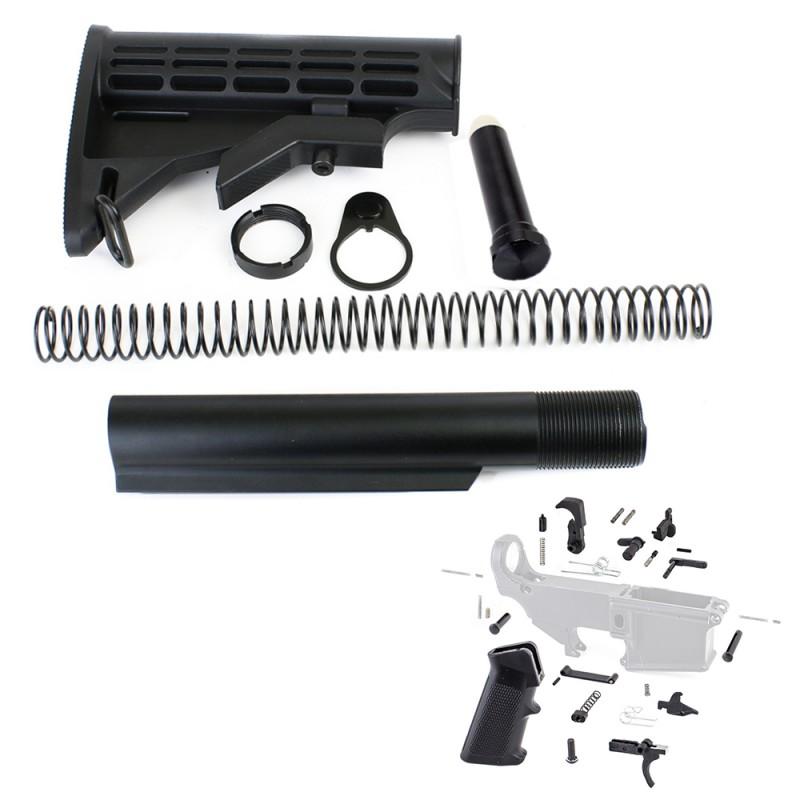 AR-15 6 Position Stock Kit -Mil Spec w/ Lower Parts Kit - Standard Grip & Trigger Guard