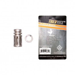 "A2 Muzzle Brake for 1/2""x28 Pitch - 5 Ports - Silver - Packaged"