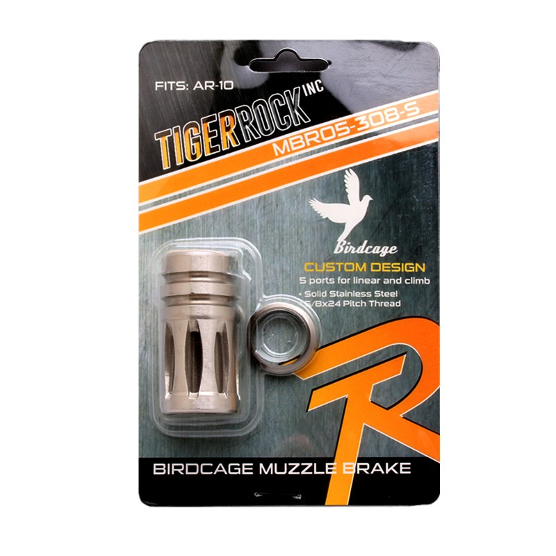 """AR-10/LR-308 Birdcage Muzzle Brake for 5/8""""x24  Pitch - 5 Ports - Silver - Packaged"""