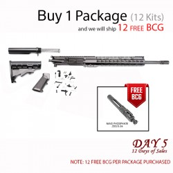 "Day 5: AR-15 Rifle Build Kit with LPK  & 12"" Super Slim Light Keymod Quad Rail and Free BCG (Pacakge of 12)"