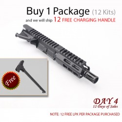 "Day 4:  AR 9mm 4.5"" Pistol Upper Build with FREE CHARGING HANDLE (Package of 12)"
