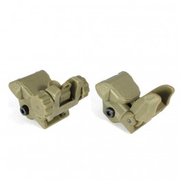 Tactical Polymer Flip up Front and Rear Sight DARK EARTH