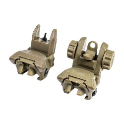 Tactical Polymer Flip up Front and Rear Sight TAN