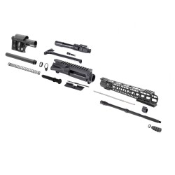 "AR15 16"" RIFLE BUILD KIT W/ 15"" HYBRID KEYMOD HANDGUARD BCG & RIFLE LENGTH MODULAR LUTHER STOCK"