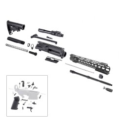 "AR15 16"" RIFLE BUILD KIT W/ 15"" HYBRID KEYMOD HANDGUARD BCG LPK & STOCK KIT"