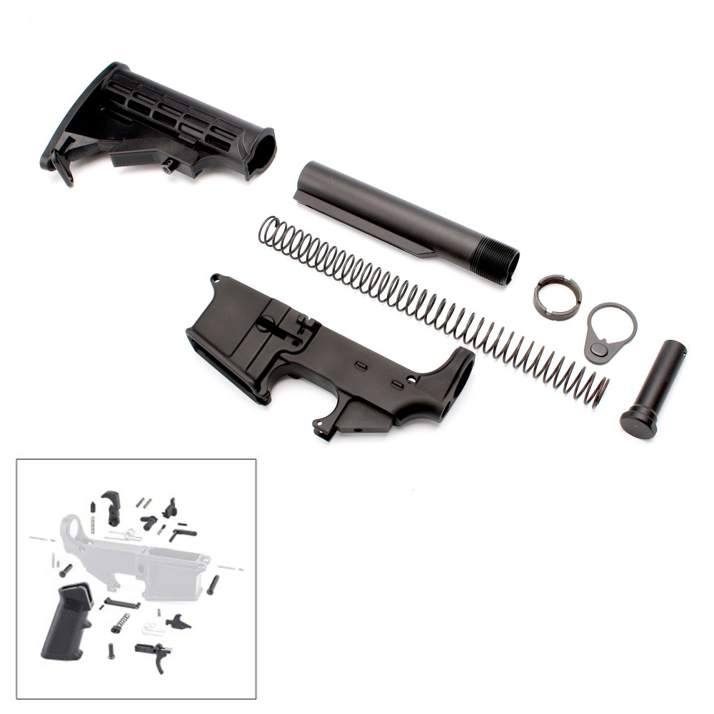 AR15, 80, Anodized, Lower, Combo, with, Stock, Kit, and, LPK