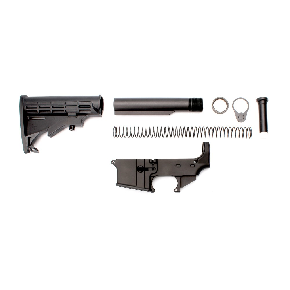 AR15, 80, Anodized, Lower, Combo, with, Stock, Kit, and