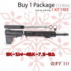 "DAY 10: AR 9MM 7.5"" Pistol Build Kit with Shavewave Stock Kit & USA Made 3.75"" Handguard (Package of 12)"
