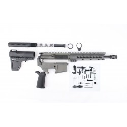 "AR15 10.5"" PISTOL BUILD KIT W/ 9"" KEYMOD HANDGUARD GREY 80% LOWER BCG MAGPUL GRIP & SHCKWAVE BLADE (ASSEMBLED UPPER)"