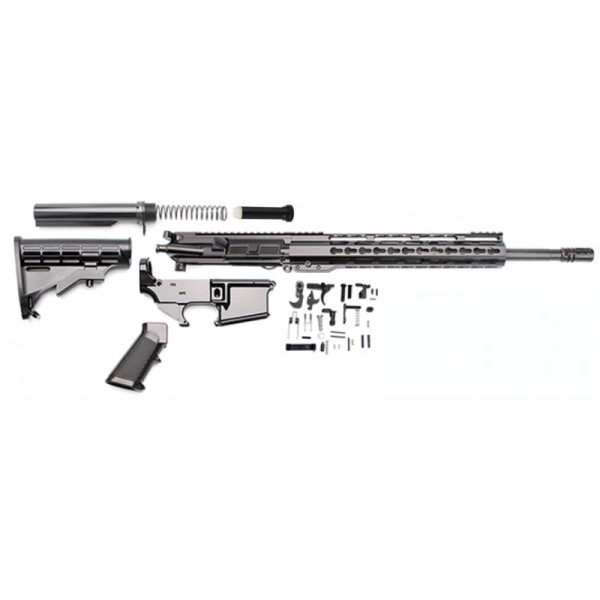 "AR-15 Rifle Build Kit with LPK and 80% Black Lower & 12"" Super Slim Light Keymod Quad Rail"