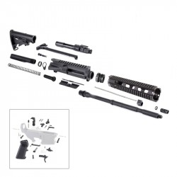 "AR15 16"" RIFLE BUILD KIT W/ 10"" QUAD RAIL HANDGUARD BCG LPK & STOCK KIT"