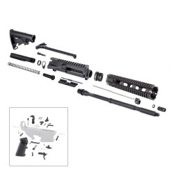 "AR15 16"" RIFLE BUILD KIT W/ 10"" QUAD RAIL HANDGUARD LPK & STOCK KIT (NO BCG)"