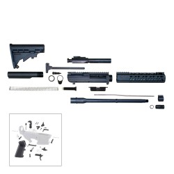 "AR10 16"" RIFLE BUILD KIT W/ 10"" KEYMOD HANDGUARD BCG LPK & STOCK KIT"