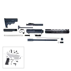 "AR10 16"" RIFLE BUILD KIT W/ 12"" KEYMOD HANDGUARD BCG LPK & STOCK KIT"