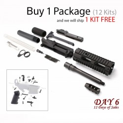 """Day 6: AR 9MM Pistol Kit with 7"""" Barrel and 7"""" Quad Rail with LPK  (Package of 12)"""