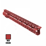 "AR15 15"" Custom Made In USA Super Slim Light Keymod Free Float Handguard  -Red- (MADE IN USA)"