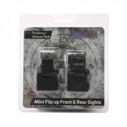 Fiber Optics Flip Up Front & Rear Sights with Red and Green Dots - Packaged