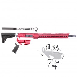 "AR-15 Rifle Build Kit with Custom Made in USA Complete Upper Build with Magpul Kits, USA Made 15"" Red Handguard, Red Upper, Red 80% Lower and Lower Parts Kit"