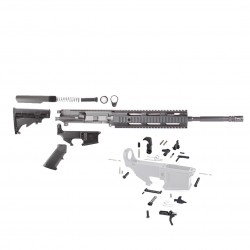 "AR15 16"" RIFLE BUILD KIT W/ 10"" QUAD RAIL HANDGUARD 80% LOWER LPK & STOCK KIT (NO BCG) (ASSEMBLED UPPER)"