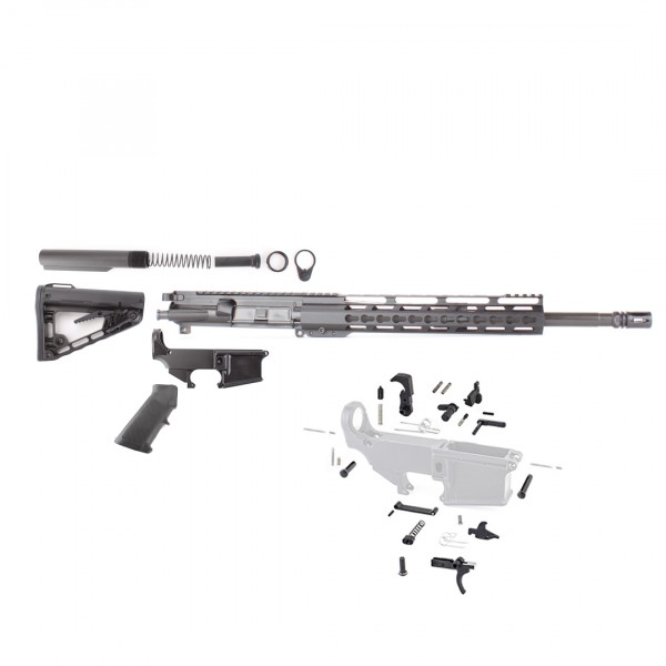 "AR-15 Rifle Build Kit with  Roger Stock, LPK and 80%  Anodized Lower & 12"" Super Slim Light Keymod Rail"