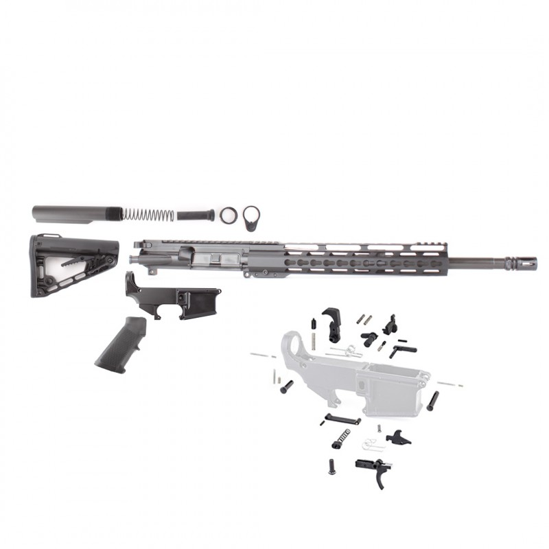 "AR15 16"" RIFLE BUILD KIT W/ 12"" KEYMOD HANDGUARD 80% LOWER & ROGER SUPER STOCK (ASSEMBLED UPPER)"