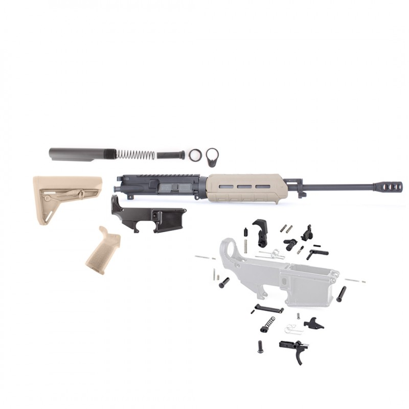 "AR15 16"" RIFLE BUILD KIT W/MAGPUL FURNITURE (FDE) 80% LOWER LPK (NO BCG) (ASSEMBLED UPPER)"