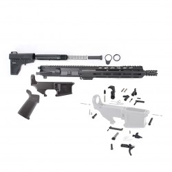 "AR15 10.5"" PISTOL BUILD KIT W/ 10"" M-LOK HANDGUARD 80% LOWER MAGPUL GRIP & SHOCKWAVE BLADE (NO BCG) (ASSEMBLED UPPER)"