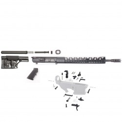 "AR10 .308 Rifle Kit with Complete Upper Build with 18"" Black Nitride Barrel,  15"" Handguard , Upper, LPK and MBA-1 Rifle Buttstock Kit,"