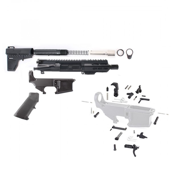 ar 9mm 4 5 pistol build kit with shockwave stock kit usa made