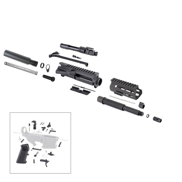 "AR .300 BLACKOUT 7.5"" PISTOL BUILD KIT W/ 4.5"" M-LOK HANDGUARD BCG LPK & PISTOL STOCK KIT"